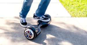 Getting on hoverboard